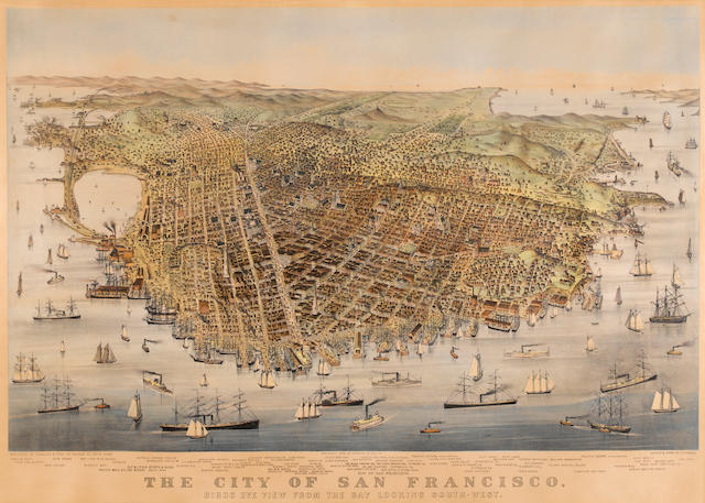 Currier & Ives  (Publishers) (American); The City of San Francisco, Birds Eye View from the Bay Looking Southwest;