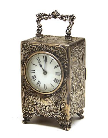 An Edwardian sterling silver clock William Comynes<BR />London, 1902