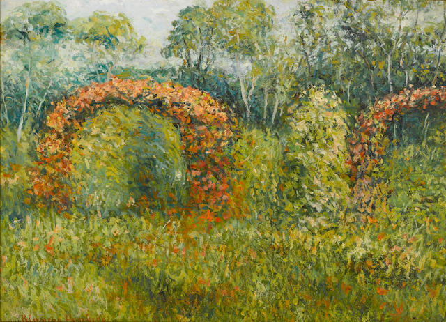 Blanche Hoschede-Monet, Jardin de Giverny, o/c, 20 x 28in