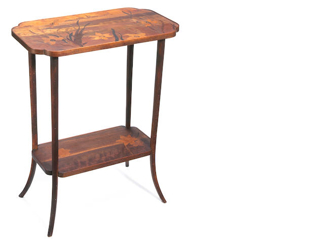 A Gallé marquetry two tiered side table circa 1900