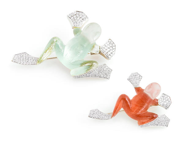 A collection of two colored crystal, diamond and white gold frog brooches, Vhernier