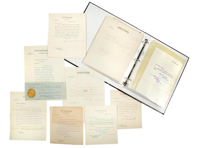 "ROOSEVELT, THEODORE. 1858-1919. 15 Typed Letters Signed (with a few holograph corrections), 1 Autograph Telegram Signed, and 1 Autograph Card Signed (""Theodore Roosevelt"" and ""T. Roosevelt""), 19 pp recto only, 8vo,"