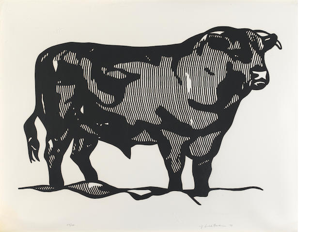 Roy Lichtenstein (American, 1923-1997); Bull I, from Bull Profile Series;