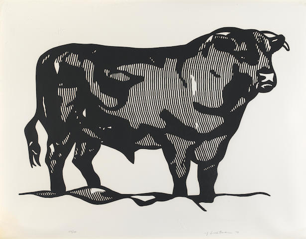 Roy Lichtenstein (American, 1923-1997); Bull I, from Bull Profile Series;