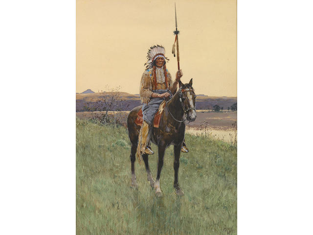 Henry F. Farny (American, 1847-1916) Southern Plains Indian warrior, 1894 16 x 11in