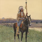 Henry F. Farny (French, 1847-1916) Indian chief on horseback 16 x 11in