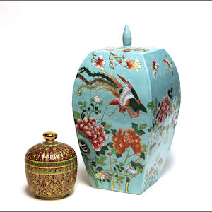 A turquoise ground porcelain covered jar with famille rose decoration