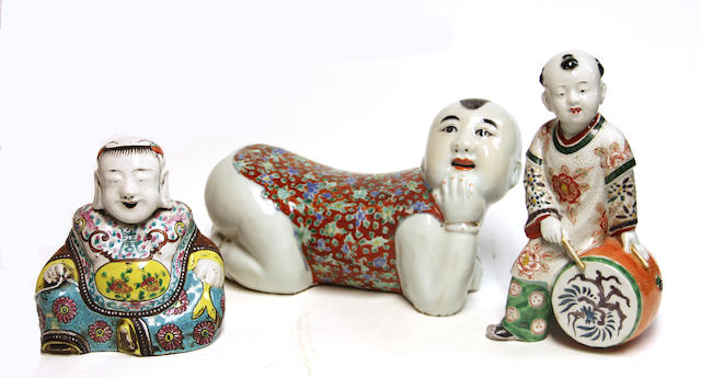 Two Chinese polychrome enameled porcelain figures