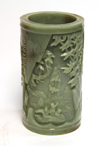 A Chinese hardstone brushpot 20th century