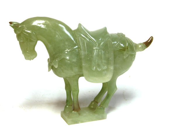 A Chinese jade model of a horse 20th century