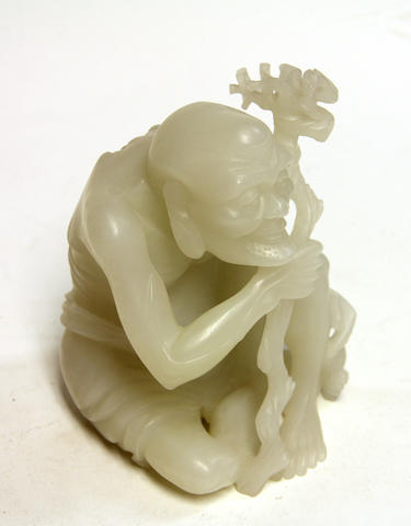 A Chinese hardstone figure of a seated ascetic 20th century