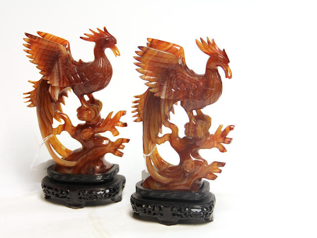 A pair of carnelian pheonix