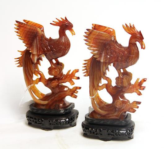 A pair of carnelian pheonix