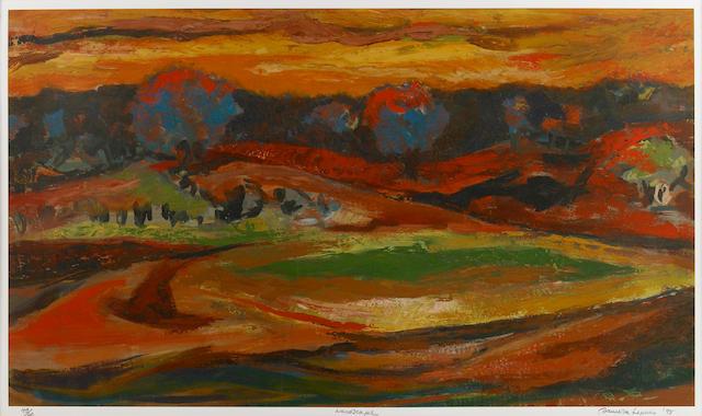 Samella Lewis, Landscape, 1995, print, edition 43/60, 17 x 29in