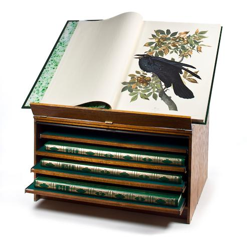 The Birds of America - a four volume gilt-decorated green leather facsimile set by John James Audobon