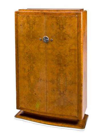 A French Art Deco burled wood cabinet  possibly by Jules Leleu,1930