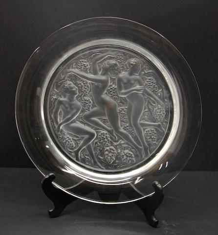 A Lalique glass center low bowl: Cote d'Or
