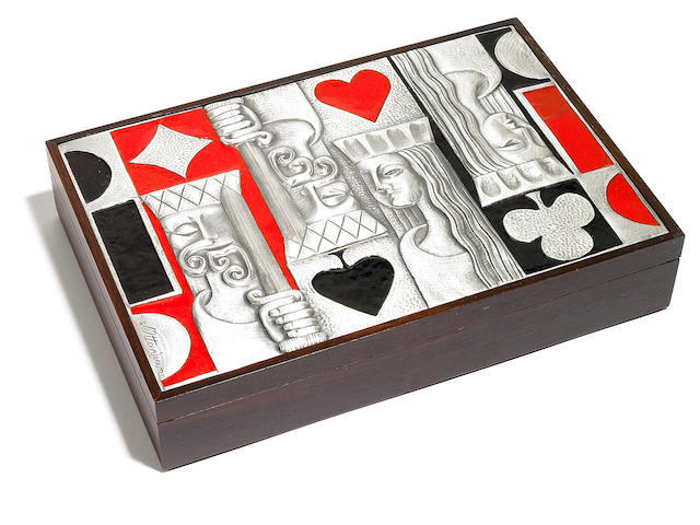 An Ottaviani enameled silver and rosewood box 1960s
