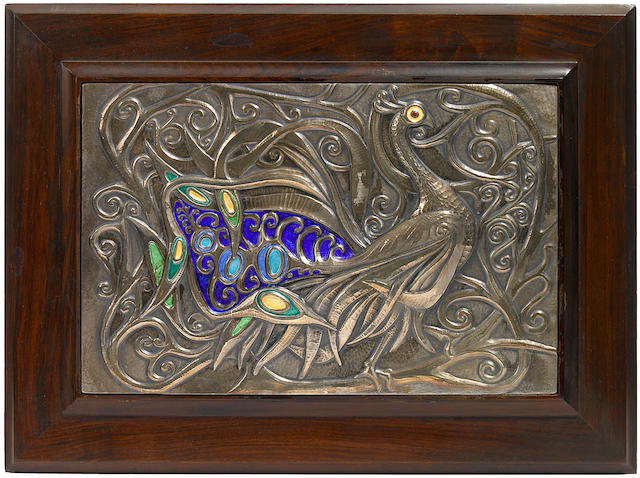 An Ottaviani enameled silver Peacock plaque 1960s