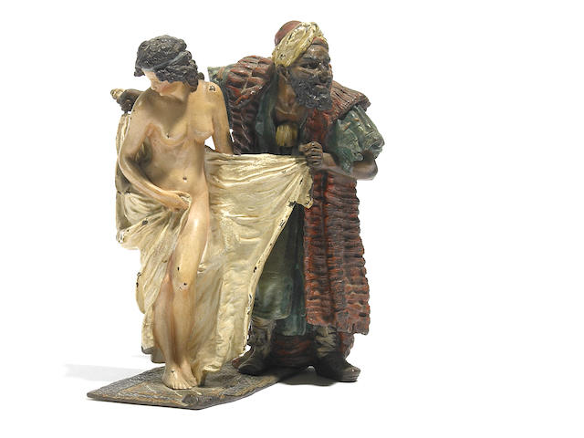 A Bergman cold painted bronze figural group depicting a slave merchant