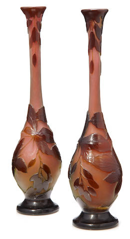A pair of Galle cameo glass stickneck vases circa 1900
