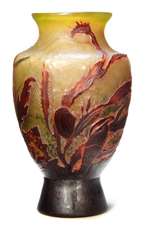 A Gallé internally decorated wheel-carved glass aquatic vase circa 1900