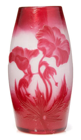 A Muller croismaire fire polished cameo glass vase