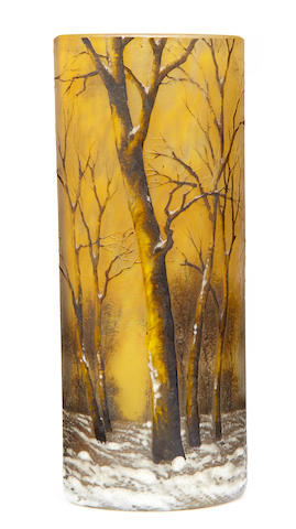 A Daum enameled glass winter landscape vase