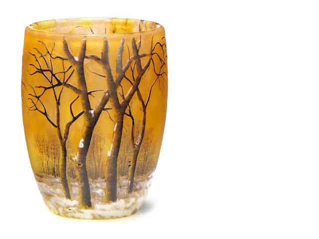 A Daum enameled glass winter landscape shot glass
