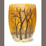A Daum enameled glass winter landscape shot glass