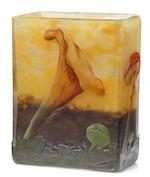 A Daum enameled cameo glass mushroom vase circa 1900