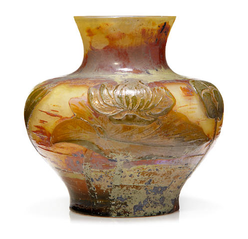 A Muller Croismaire cameo glass lilypad vase