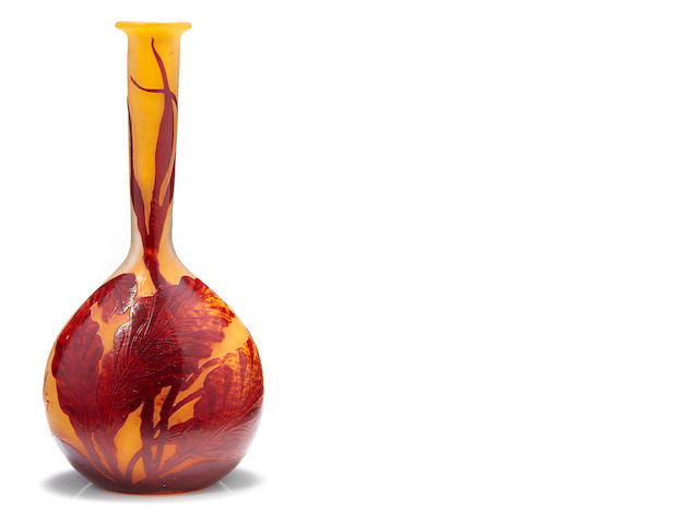 A Galle cameo glass stickneck seaweed vase circa 1900