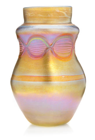 A Tiffany Studios decorated Favrile glass special order vase early 20th century