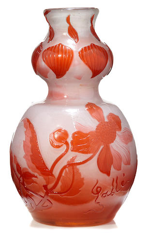 A Gallé fire-polished glass double-gourd form vase circa 1900