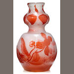 A Galle fire-polished glass double-gourd vase circa 1900