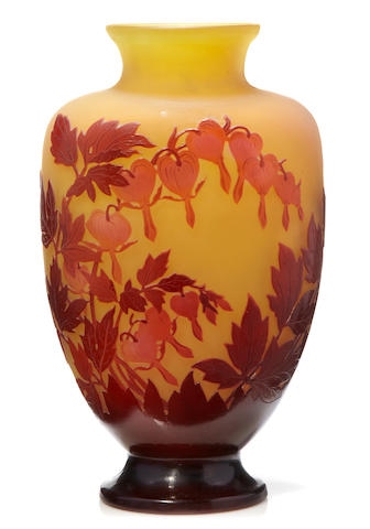 A Gallé cameo glass Bleeding Heart vase circa 1900