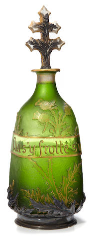 A Daum enameled verre parlant decanter and stopper