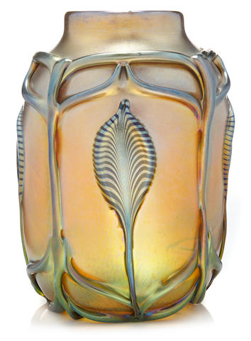A Tiffany decorated Favrile glass vase with applied decoration