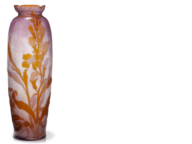 A Galle fire polished cameo glass vase circa 1900