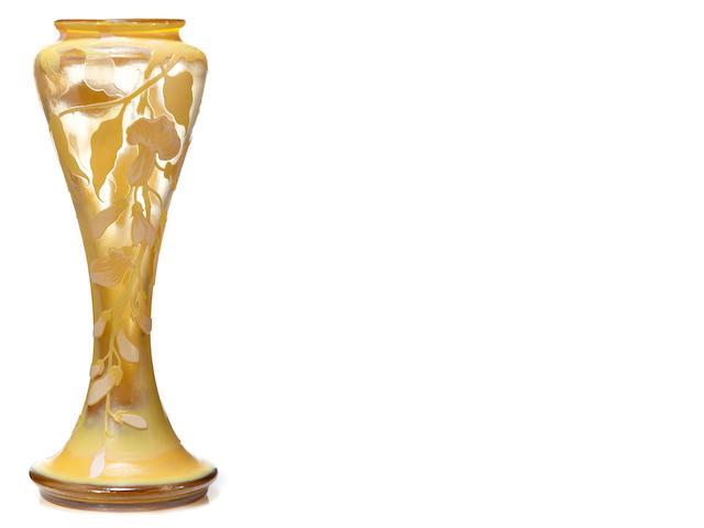 A Galle cameo glass Wisteria vase circa 1900