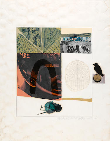 Robert Rauschenberg, Horse Feathers 13, 1972/73, Signed and edition numbered 58/74, Color lithograph with embossing, collage and paint, Image 18 x 18 inches, Sheet 28 ½ x 21 ½ inches;