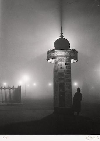 Brassaï (Gyula Halász) (Hungarian/French, 1899-1984); Colonne Morris, dans le brouillard, Paris;