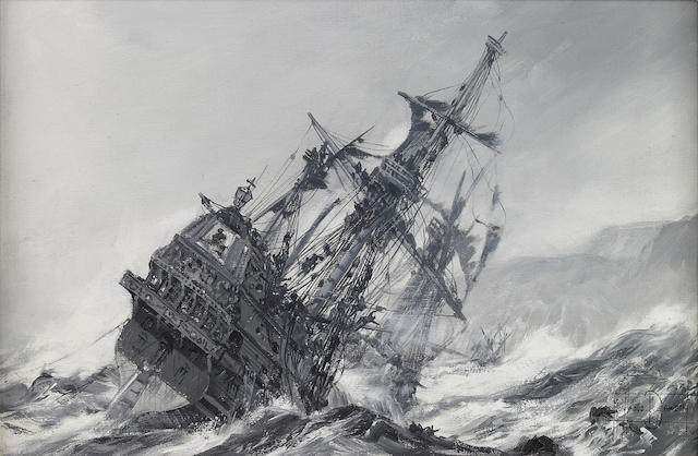 Montague Dawson (British, 1890-1973) Galleon in distress 11-3/4 x 17-3/4 in. (29.8 x 45 cm.)