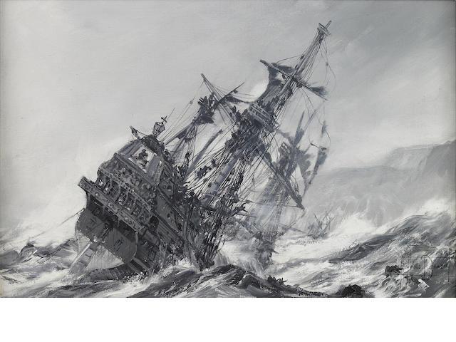 Montague Dawson (British, 1890-1973) Galleon in distress