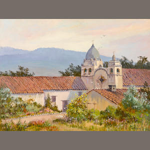 Albert Thomas DeRome (American, 1885-1959) Carmel Mission, 1958 18 x 24in