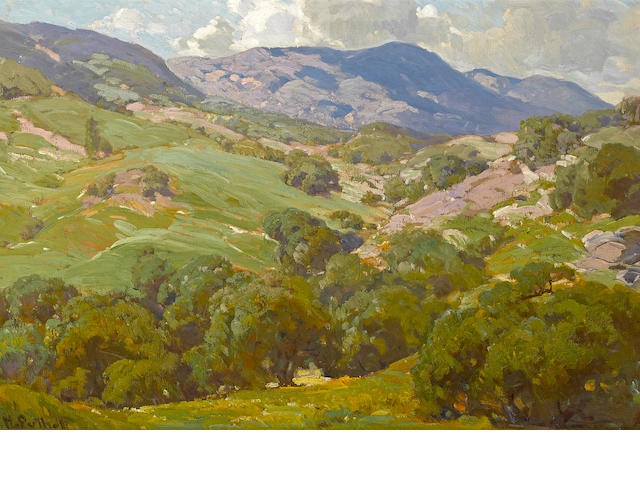 Hanson Puthuff (American, 1875-1972) Topanga in spring 24 x 36 1/4in