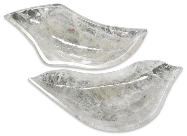 A pair of carved rock crystal bowls