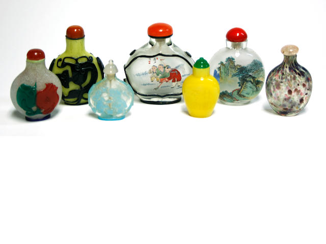 A group of seven glass snuff bottles