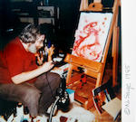 A Jerry Garcia original, airbrushed painting, Alien Craft, 1985; together with a Jerry Garcia original, airbrushed painting, Brain, 1985